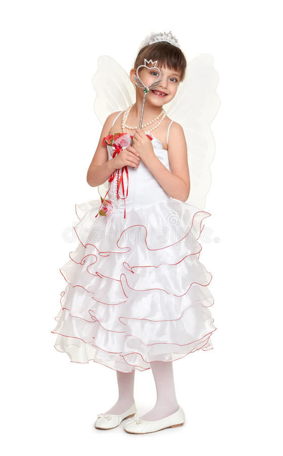 Download Tooth Fairy Girl Dressed In White With Wings Stock Image - Image of childhood  sc 1 st  Dreamstime.com : child tooth fairy costume  - Germanpascual.Com