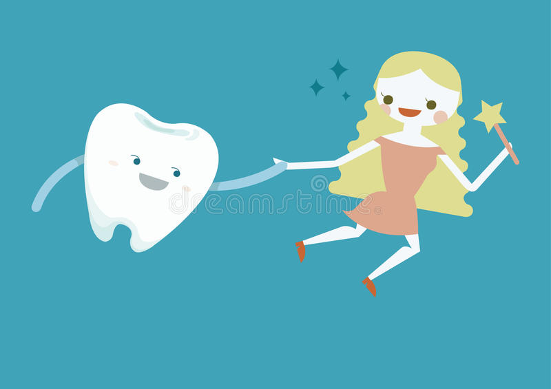 Tooth and fairy girl. Illustrator stock illustration