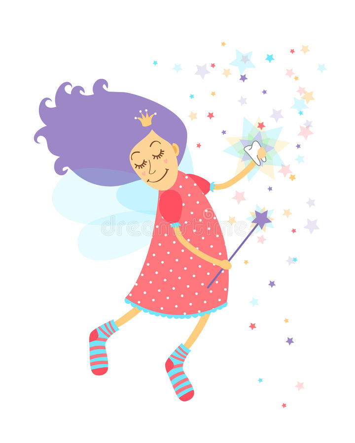 Tooth fairy. With a happy smiling face and serene expression holding a tooth as she waves her magic wand releasing stardust as she grants the child a wish vector illustration