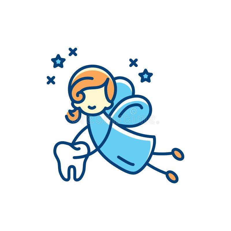 Tooth fairy icon. Vector flat illustration, Thin line art sign. Tooth fairy icon. Vector flat illustration, Thin line art design vector illustration