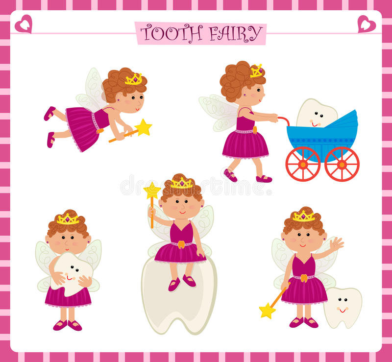 Tooth Fairy Set. Cute cartoon set of five tooth fairy and a cute baby tooth. Eps10 royalty free illustration