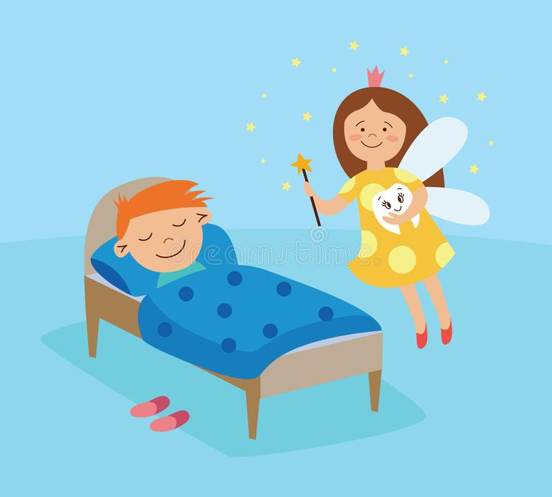 Tooth fairy visiting a sleeping boy, fantasy girl in a crown flying in the room with magic wand vector illustration