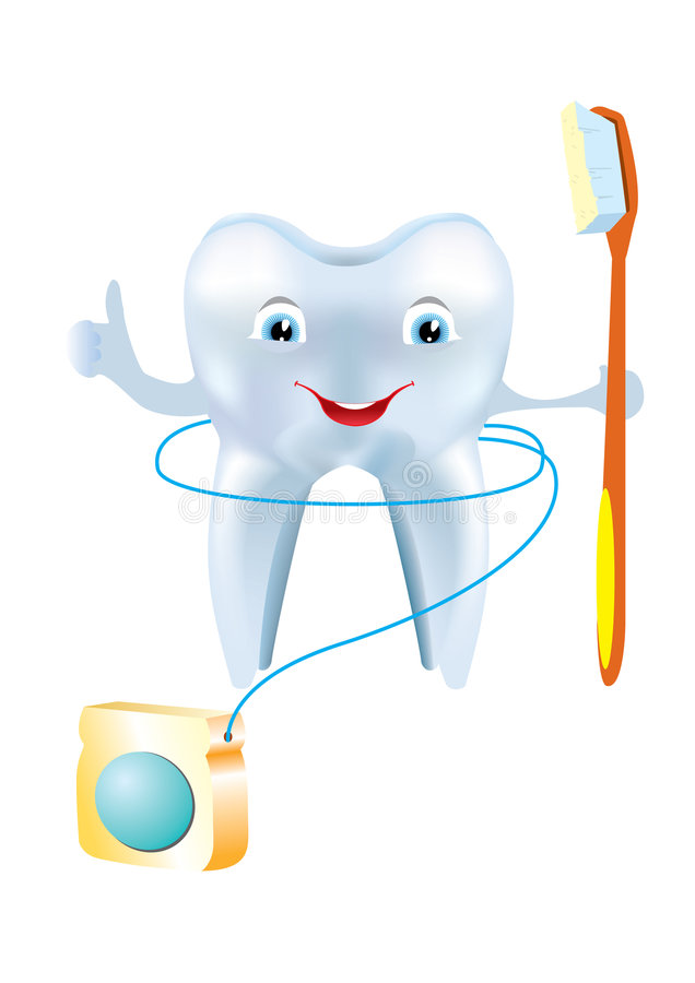 Tooth and floss. Hygiene. White tooth and floss for clean stock illustration