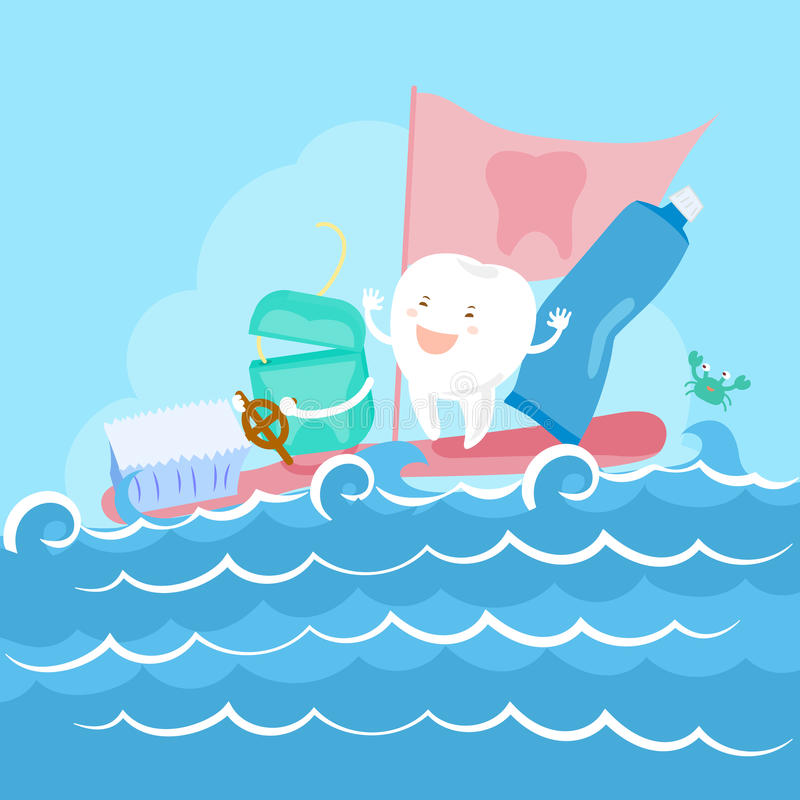 Tooth and floss on sea. Cartoon tooth and floss on the sea vector illustration