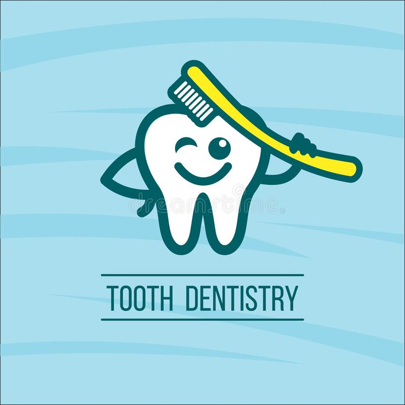 Dentist tooth and toothbrush. Vector logo of the dental clinic. Tooth. A fun healthy tooth cleans itself with a toothbrush. Vector icon, logo. Prevention of stock illustration