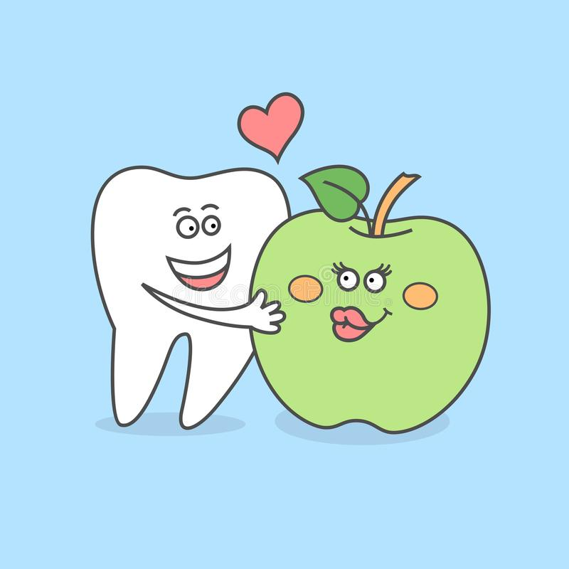 Tooth with a green apple. Dental care concept. Tooth with a green apple. Good habits for your teeth. Dental care concept or icon. Cartoon funny vector royalty free illustration