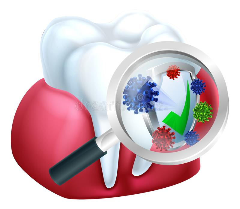Gum Protection. Tooth and gum being protected from bacteria by a shield viewed through a magnifying glass concept royalty free illustration