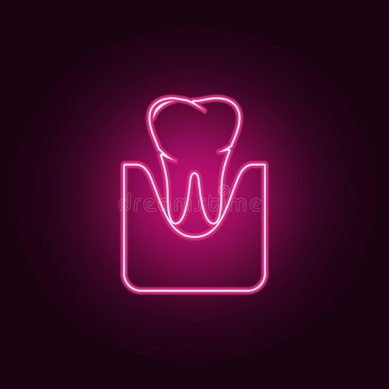 Tooth and gum icon. Elements of Dental in neon style icons. Simple icon for websites, web design, mobile app, info graphics. On dark gradient background vector illustration
