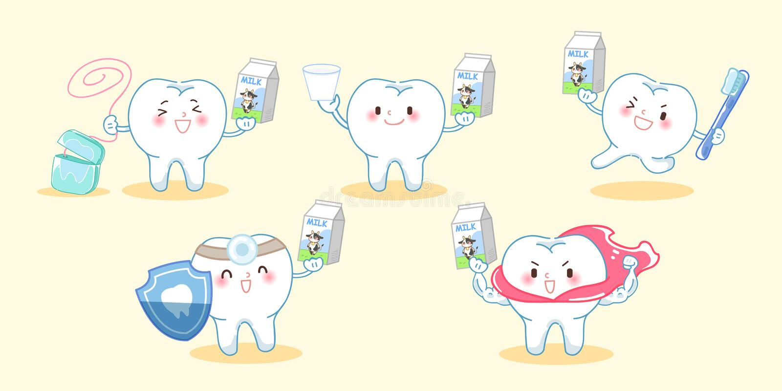 Tooth with health concept. Cute cartoon tooth take milk with health concept stock illustration