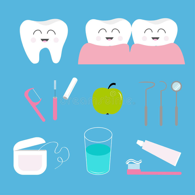 Tooth health icon set. Toothpaste, toothbrush, dental tools instruments, thread, floss, mirror, brush, water. Children teeth care. Oral hygiene Baby background royalty free illustration