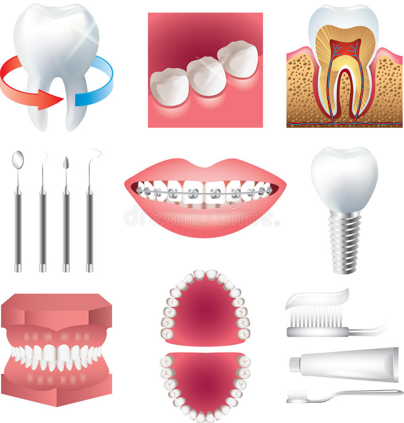 Tooth healthcare and stomatology set royalty free illustration