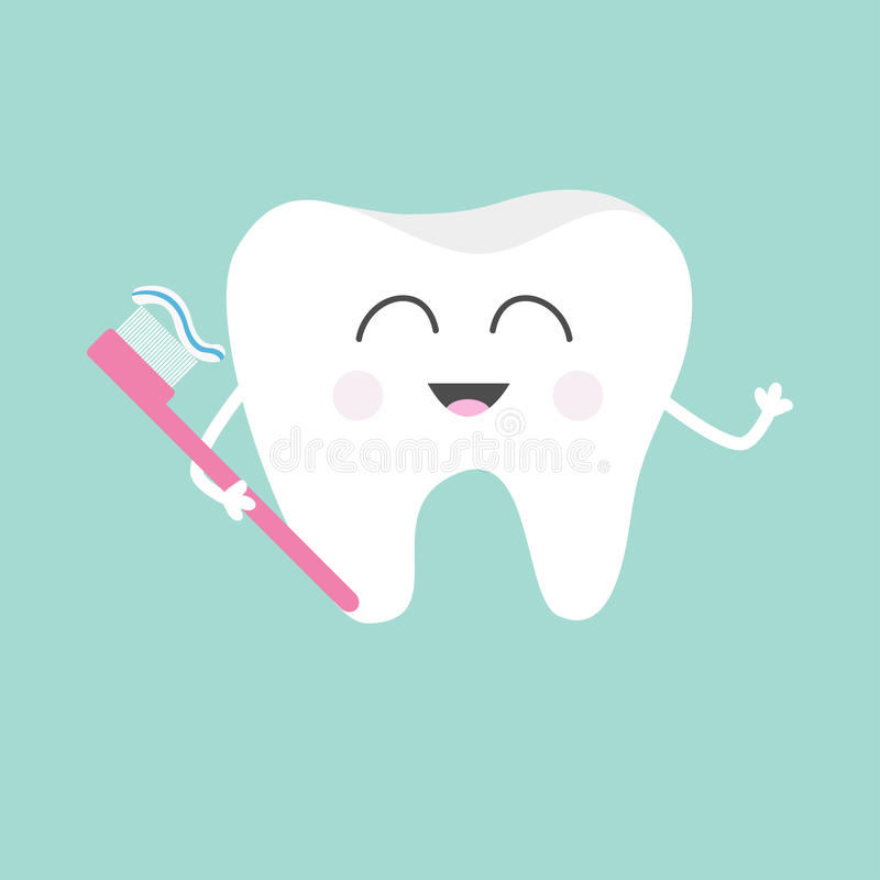 Tooth holding toothbrush with toothpaste. Cute funny cartoon smiling character. Children teeth care icon. Oral dental hygiene. Too. Th health. Baby background vector illustration