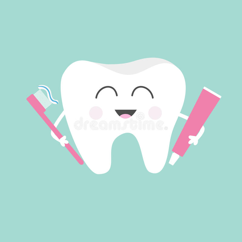 Tooth holding toothpaste and toothbrush. Cute funny cartoon smiling character. Children teeth care icon. Oral dental hygiene. Toot. H health. Baby background stock illustration