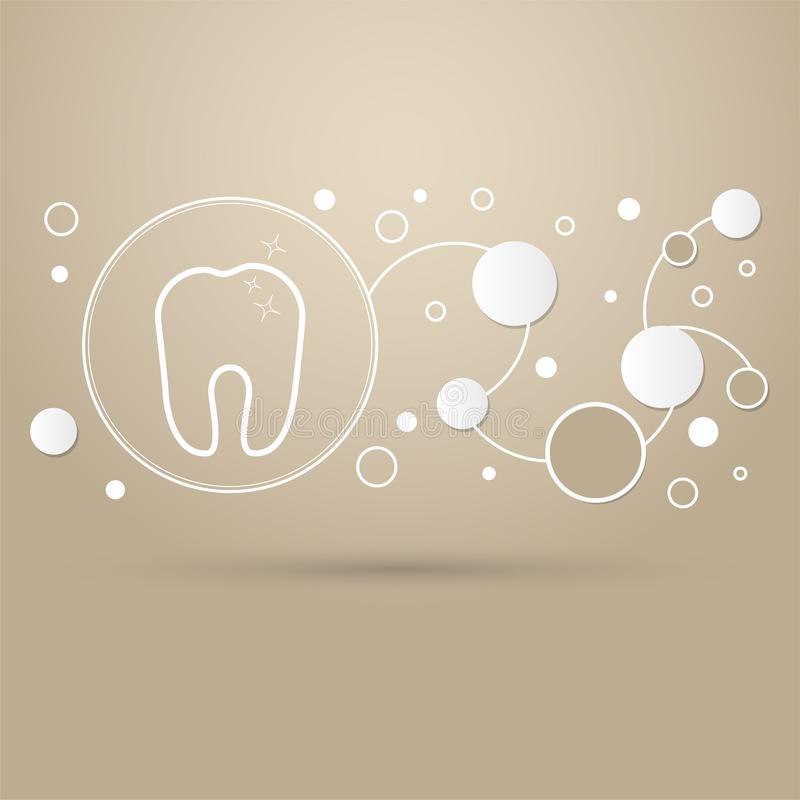 Tooth Icon on a brown background with elegant style and modern design infographic. royalty free illustration