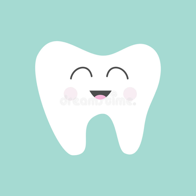 Tooth icon. Cute funny cartoon smiling character. Oral dental hygiene. Children teeth care. Tooth health. Baby background. Flat d stock illustration