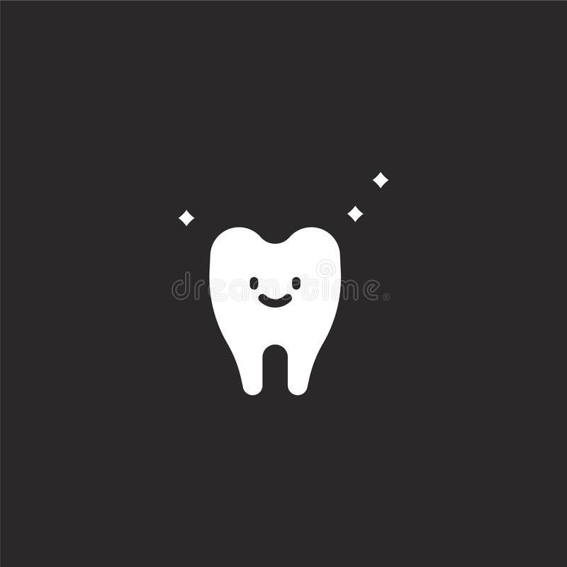 Tooth icon. Filled tooth icon for website design and mobile, app development. tooth icon from filled dental collection isolated on. Black background vector illustration