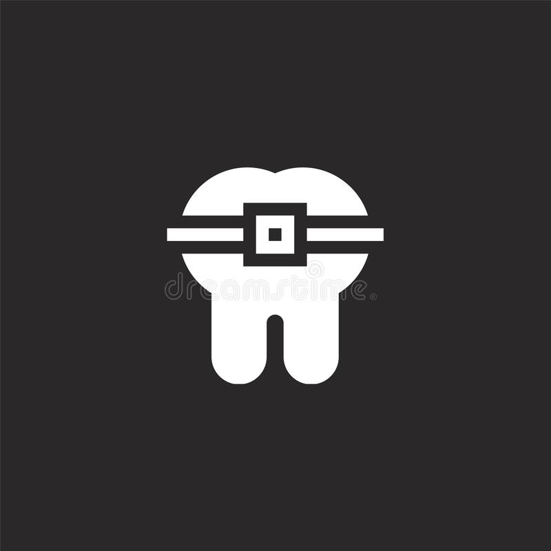 Tooth icon. Filled tooth icon for website design and mobile, app development. tooth icon from filled dental care collection. Isolated on black background royalty free illustration