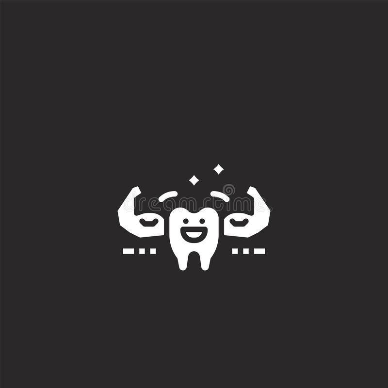 Tooth icon. Filled tooth icon for website design and mobile, app development. tooth icon from filled dental collection isolated on. Black background royalty free illustration
