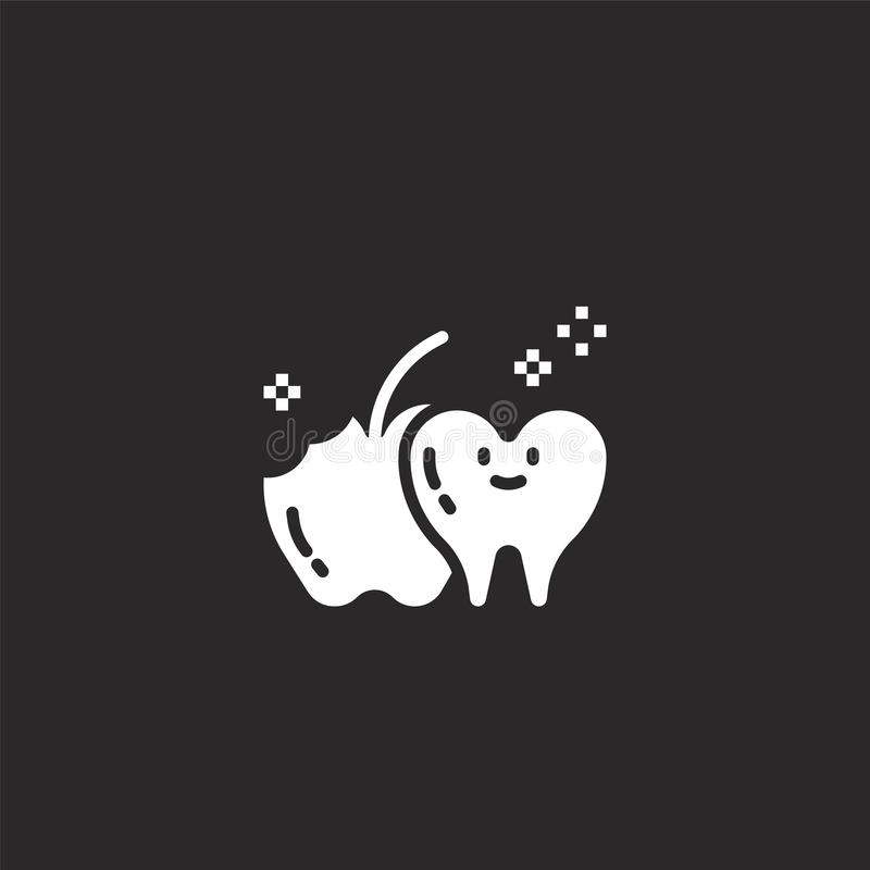 Tooth icon. Filled tooth icon for website design and mobile, app development. tooth icon from filled dental collection isolated on. Black background stock illustration