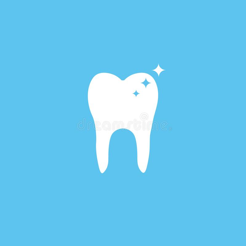 Tooth icon. Flat design style. Tooth simple silhouette. Modern, minimalist icon in stylish colors. Vector illustration royalty free illustration