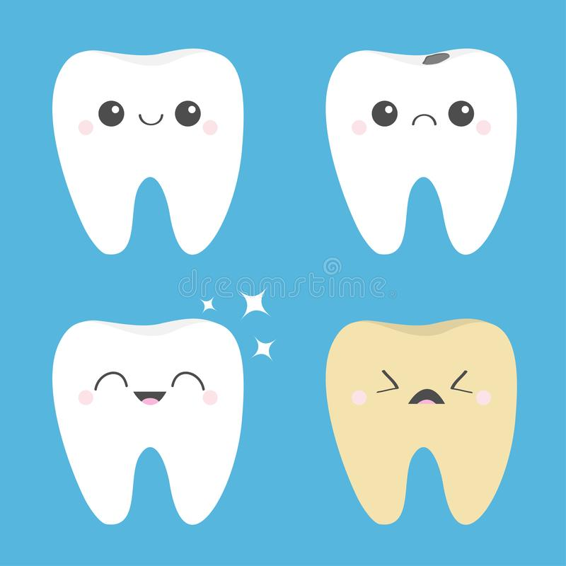 Tooth icon set. Healthy smiling Crying bad ill teeth. White Yellow Shining star. Before after Infographic. Cute cartoon kawaii. Character. Oral dental hygiene royalty free illustration