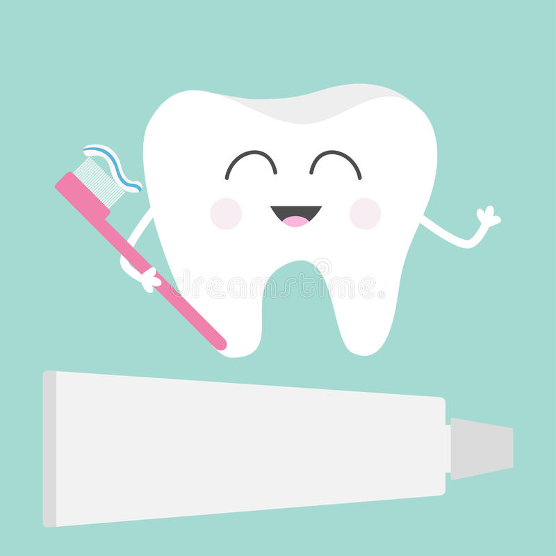 Tooth icon. Toothpaste and toothbrush. Cute funny cartoon smiling character. Children teeth care. Oral dental hygiene. Tooth healt royalty free illustration