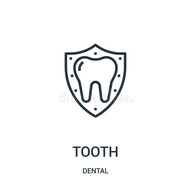 Tooth icon vector from dental collection. Thin line tooth outline icon vector illustration. Linear symbol. For use on web and mobile apps, logo, print media royalty free illustration
