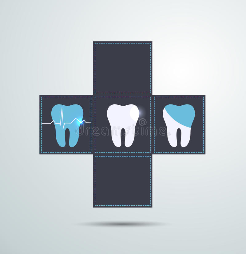 Tooth icons, caries and treatment vector illustration
