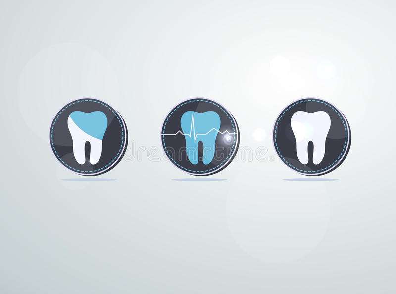 Tooth icons, caries and treatment symbols stock illustration