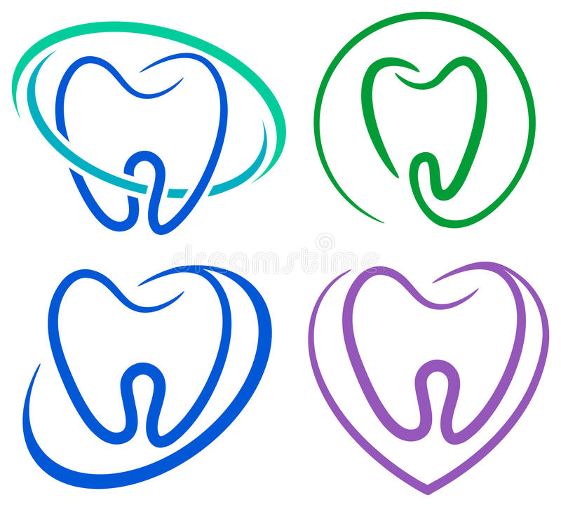 Tooth icons. Isolated line art tooth icons