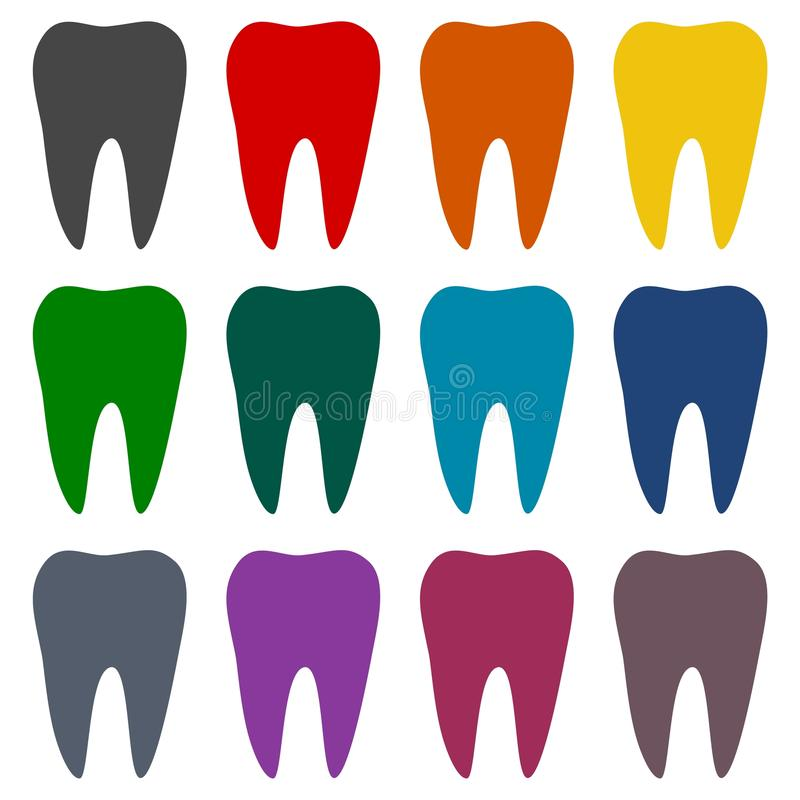 Tooth icons set stock illustration
