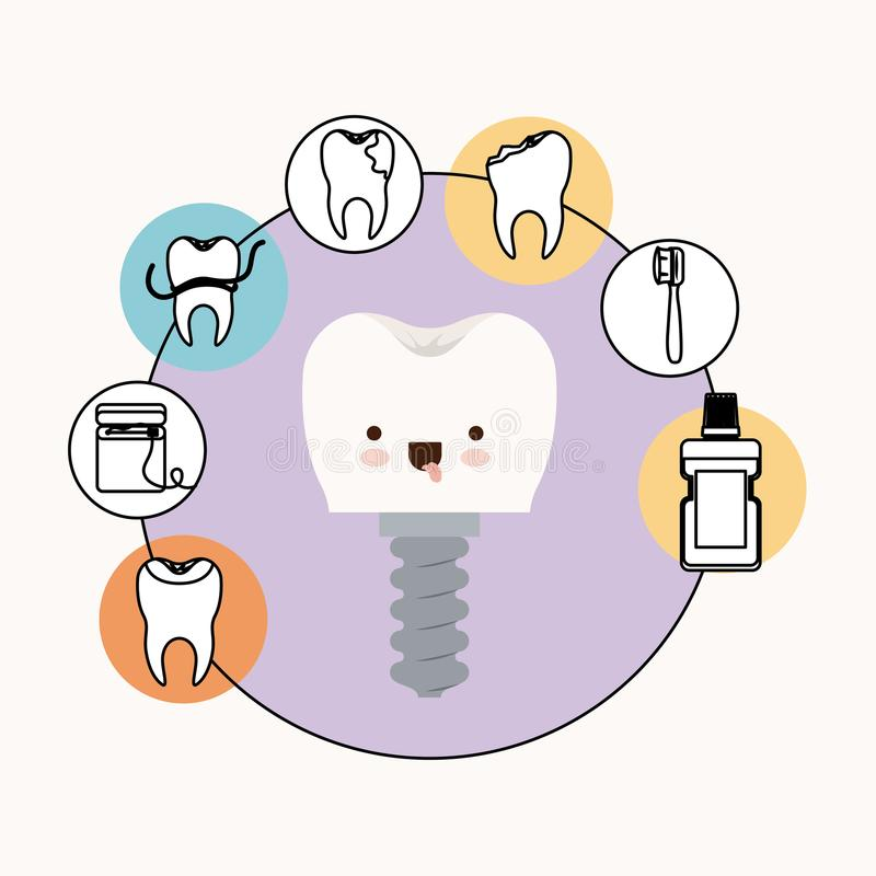 Tooth implant with dental care kawaii caricature with tongue out expression with circular frame icons dental care. On white background vector illustration vector illustration