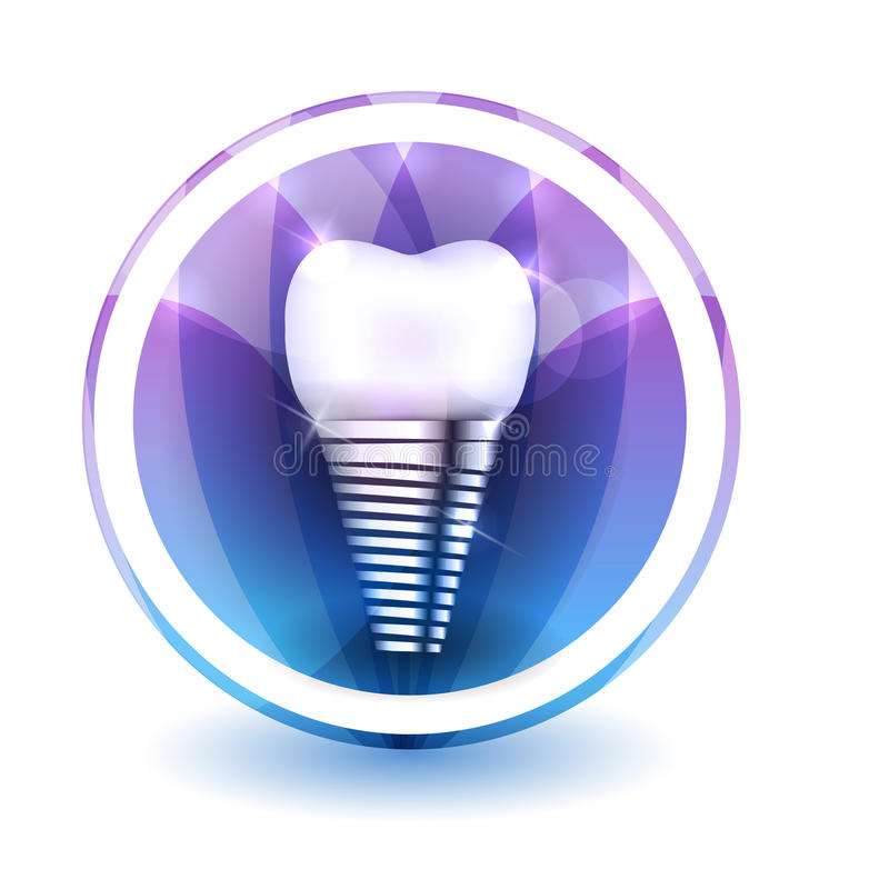 Tooth implant sign. Round shape colorful overlay flower petals at the background vector illustration