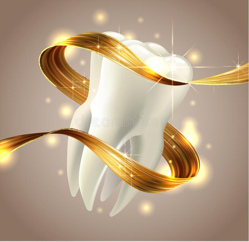 Tooth isolated on white background. 3D render. Dental, medicine, health concept. royalty free illustration