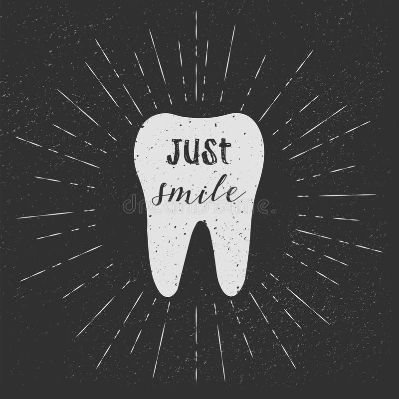 Tooth. Just smile. Vector. White tooth on black background. Vintage retro sunburst, grunge background. stock illustration