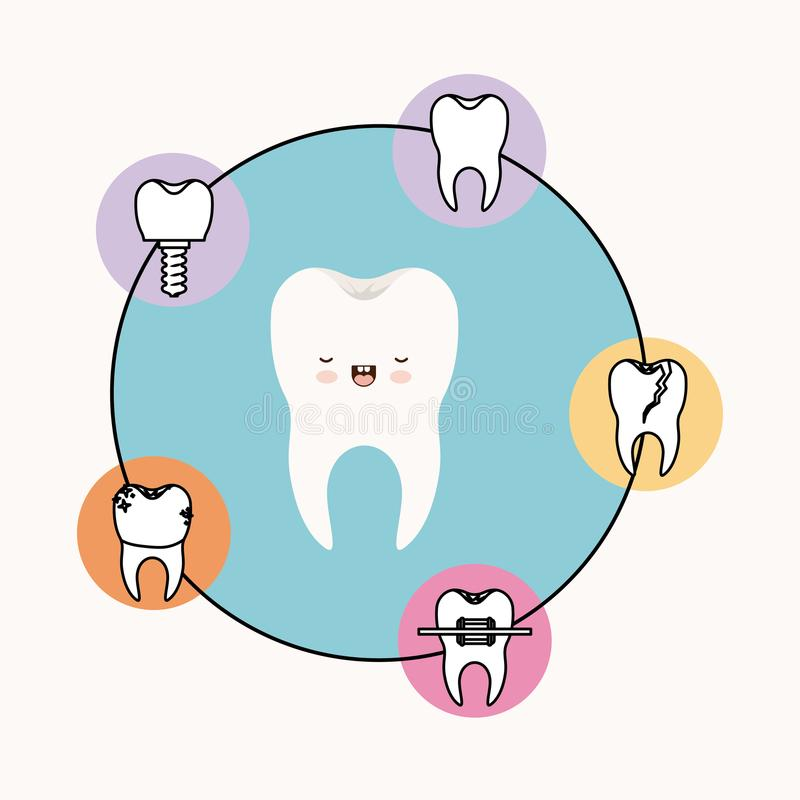 Tooth kawaii caricature with eyes closed and smiling expression with circular frame icons dental care on white. Background vector illustration royalty free illustration