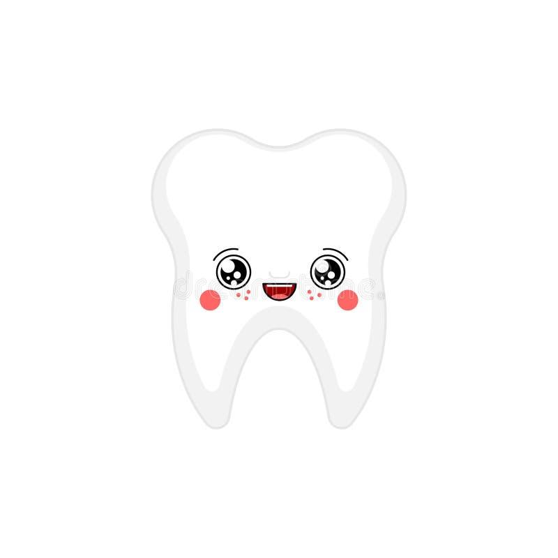 Tooth kawaii Cute cartoon. Funny Teeth. Sweet vector illustration stock illustration