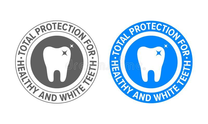 Tooth logo for toothpaste and teeth whitening. Vector dental clinic and tooth dentist approved certification label royalty free illustration