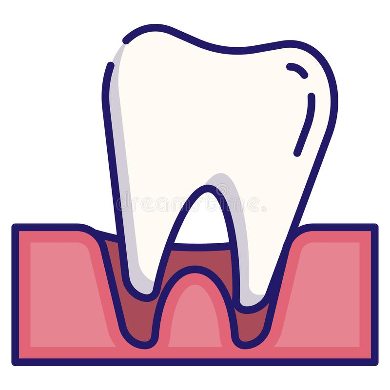 Tooth loose LineColor. Tooth loose vector illustration in LineColor design royalty free illustration