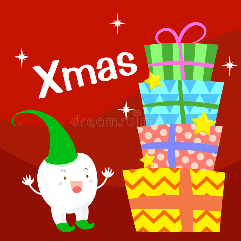 Tooth with merry christmas royalty free illustration