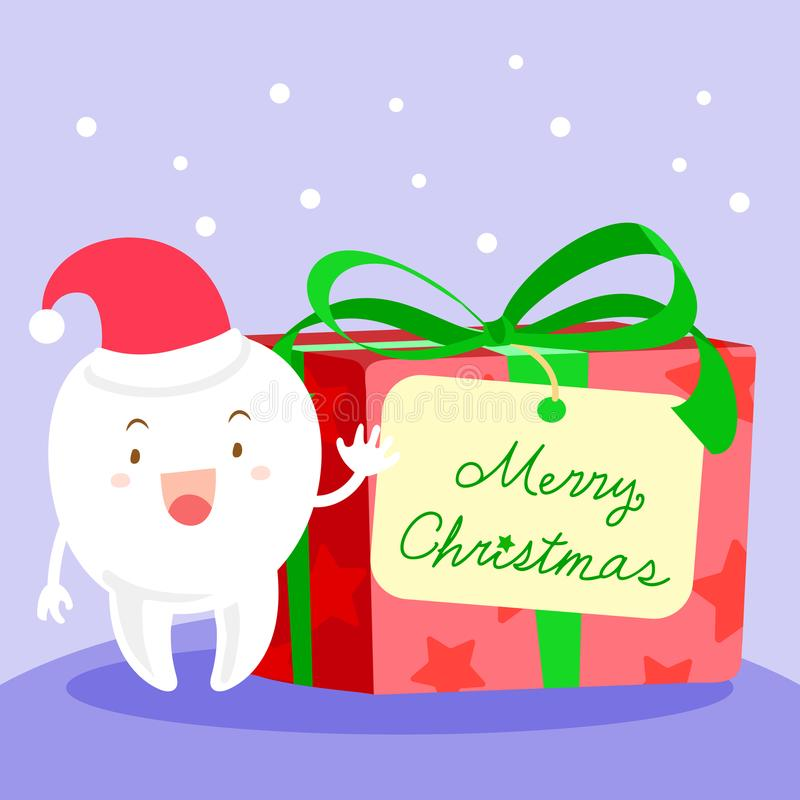 Tooth with merry christmas vector illustration