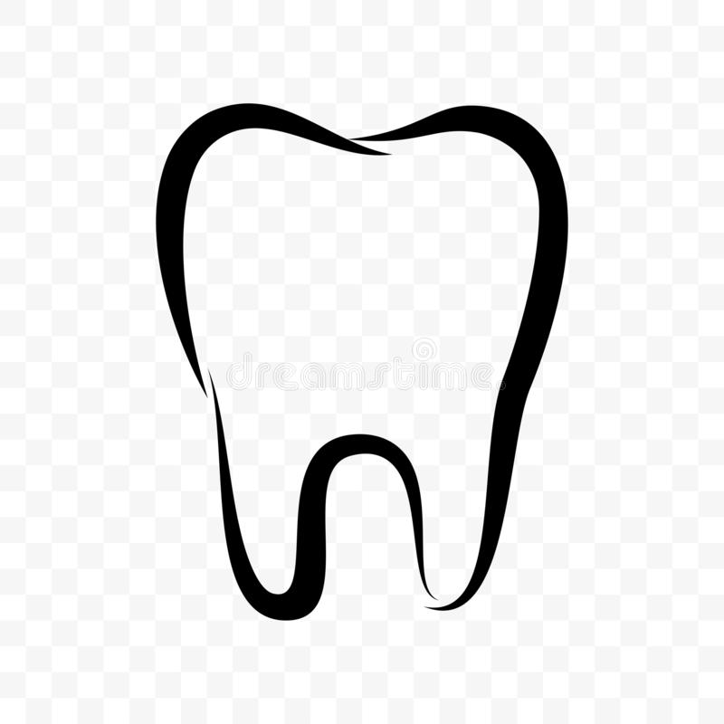 Tooth outline vector icon. Dentistry clinic, toothpaste and dental mouthwash package label, tooth logo vector illustration