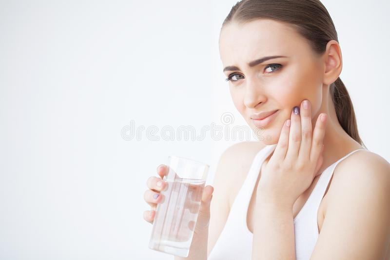 Tooth Pain. Beautiful Woman Feeling Strong Pain royalty free stock photos
