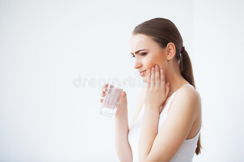 Tooth Pain. Dental care and toothache. Woman Feeling Tooth Pain. royalty free stock images