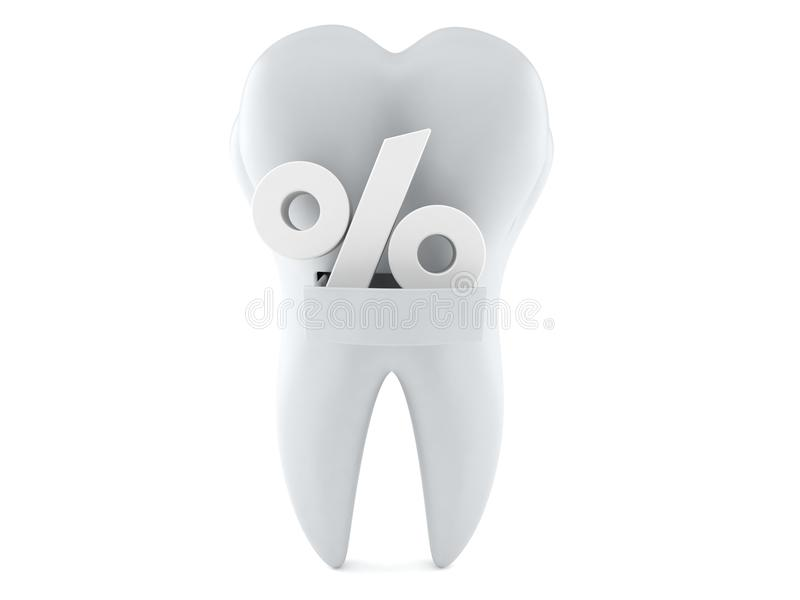 Tooth with percentage sign. Isolated on white background vector illustration