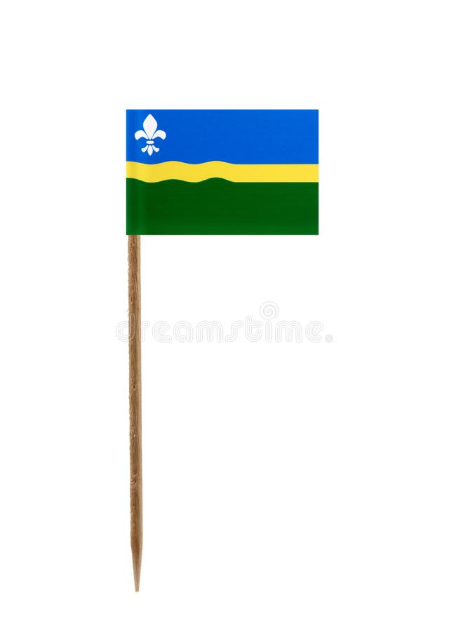 Flag of Flevoland. Tooth pick wit a small paper flag of Flevoland royalty free stock photos