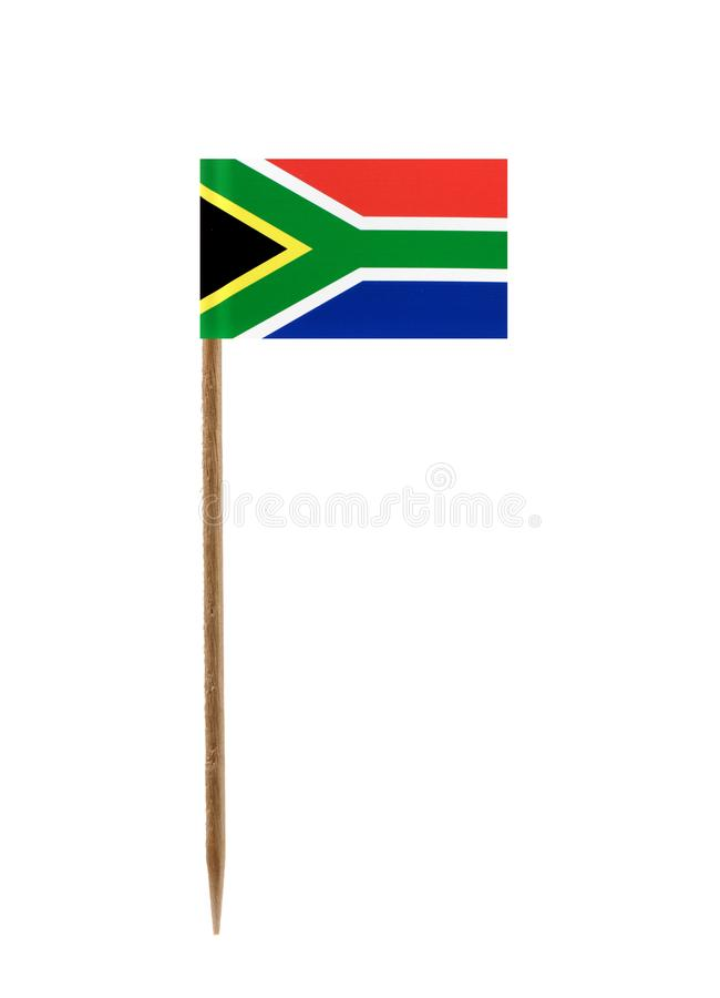Flag of South Africa. Tooth pick wit a small paper flag of South Africa royalty free stock images