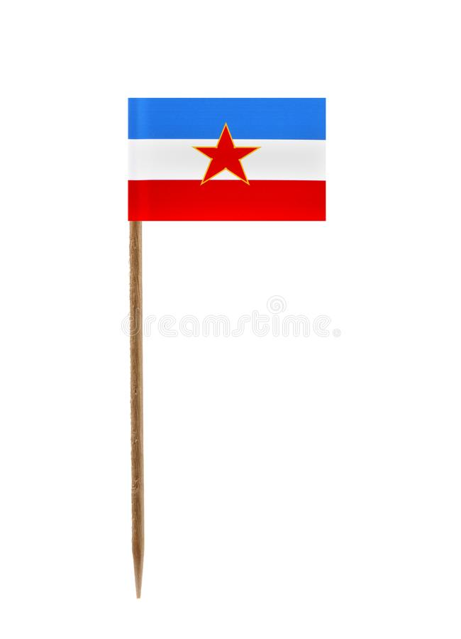 Flag of Yugoslavia. Tooth pick wit a small paper flag of Yugoslavia stock photos