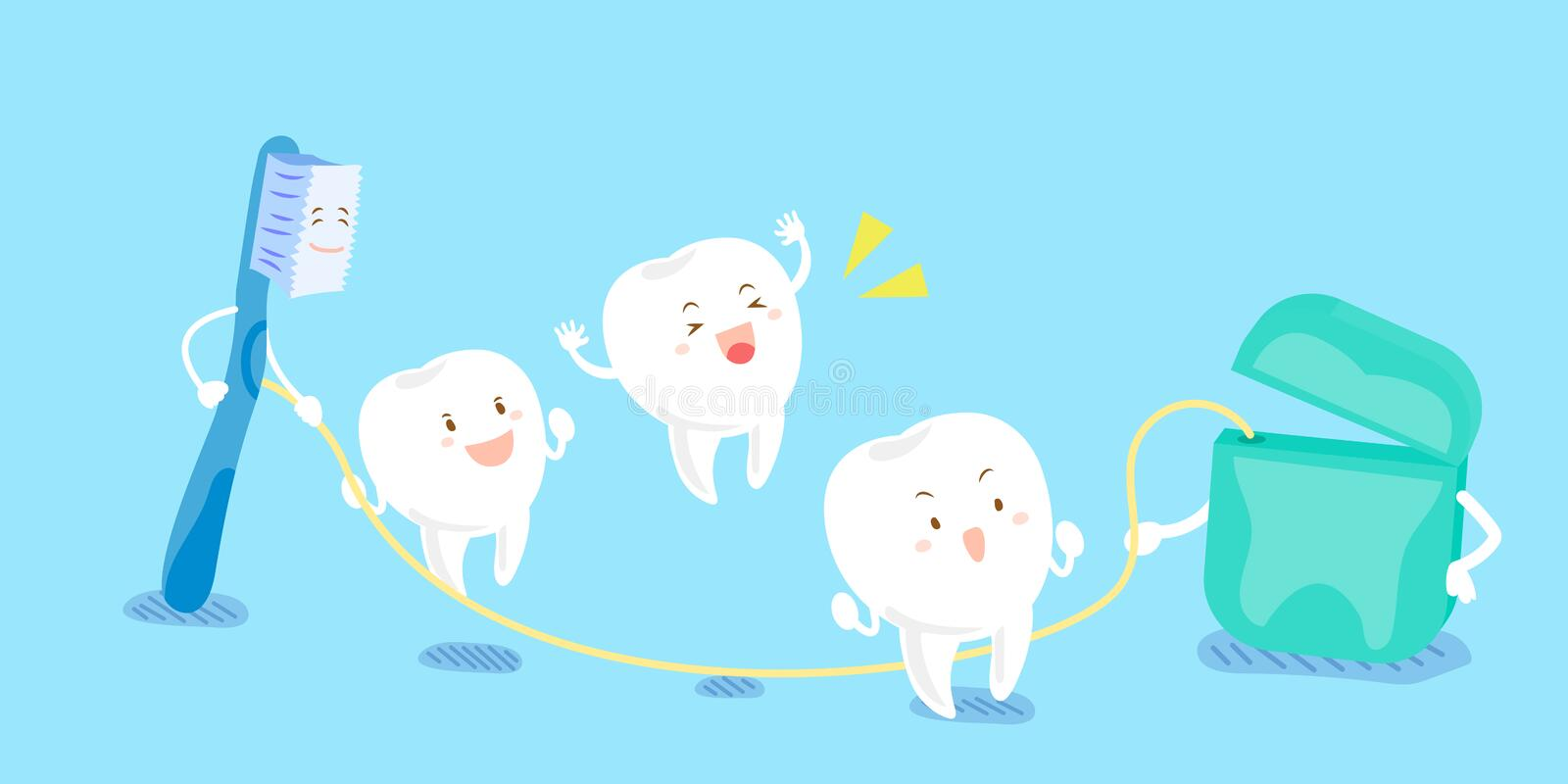 Tooth playing with dental floss. Cute cartoon tooth and brush playing with dental floss vector illustration