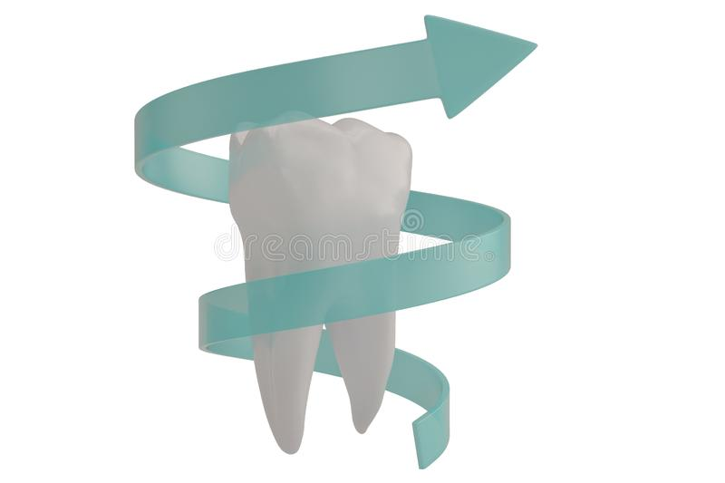 Tooth protection concept tooth and spiral arrow 3D illustration. Tooth protection concept tooth and spiral arrow 3D illustration vector illustration